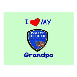 I Love My Police Grandpa Postcard