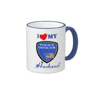 I Love My Police Husband Ringer Mug