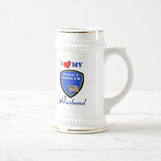 I Love My Police Husband 18 Oz Beer Stein