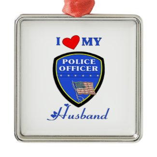 I Love My Police Husband Christmas Ornaments