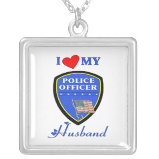 I Love My Police Husband Silver Plated Necklace