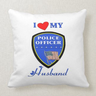 I Love My Police Husband Throw Pillow