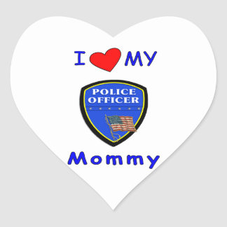 I Love My Police Mommy Heart Sticker