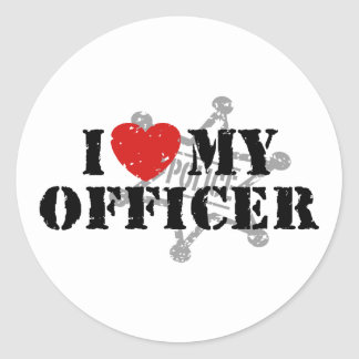 I Love My Police Officer Classic Round Sticker