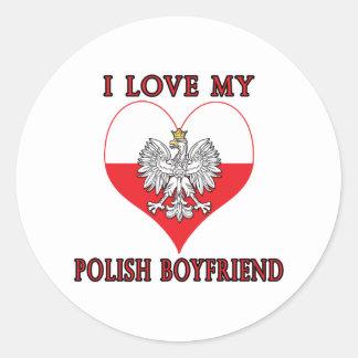 I Love My Polish Boyfriend Classic Round Sticker