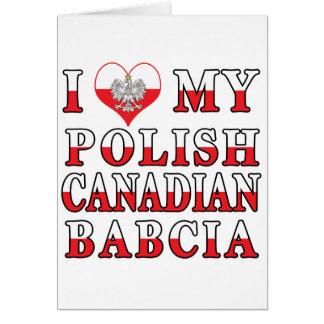 I Love My Polish Canadian Babcia Flag Card