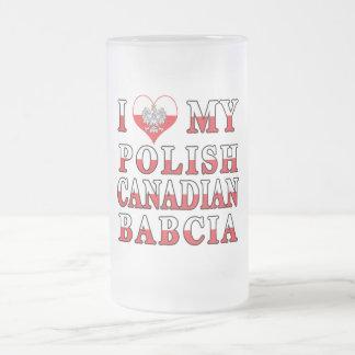 I Love My Polish Canadian Babcia Flag Frosted Glass Beer Mug