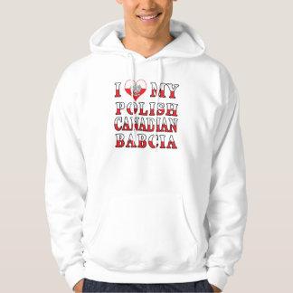 I Love My Polish Canadian Babcia Flag Hoodie