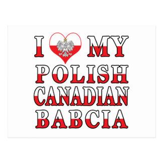 I Love My Polish Canadian Babcia Flag Postcard