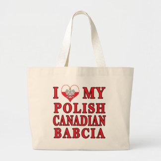 I Love My Polish Canadian Babcia Large Tote Bag