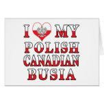 I Love My Polish Canadian Busia Flag Greeting Card