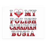 I Love My Polish Canadian Busia Flag Post Cards