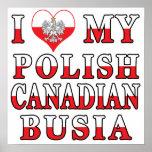 I Love My Polish Canadian Busia Flag Print