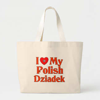 I Love My Polish Dziadek (Grandfather) Jumbo Tote Bag