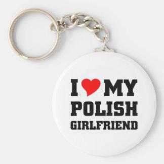 I love my polish girlfriend basic round button keychain