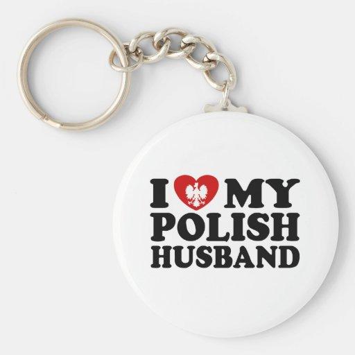 I Love My Polish Husband Basic Round Button Keychain