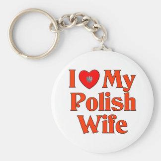 I Love My Polish Wife Keychain