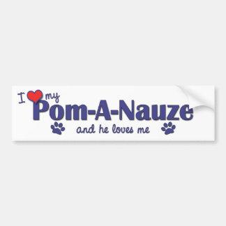 I Love My Pom-A-Nauze (Male Dog) Car Bumper Sticker
