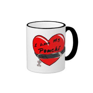 I Love My Pomchi Heart with Dog Collar Coffee Mug