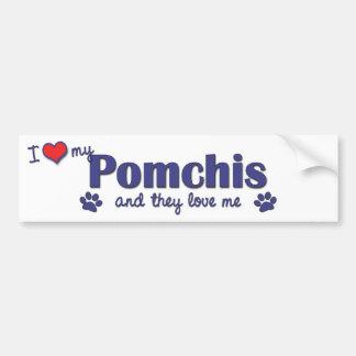 I Love My Pomchis (Multiple Dogs) Car Bumper Sticker