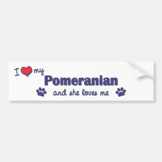 I Love My Pomeranian (Female Dog) Car Bumper Sticker