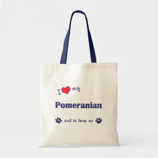 I Love My Pomeranian (Male Dog) Tote Bag