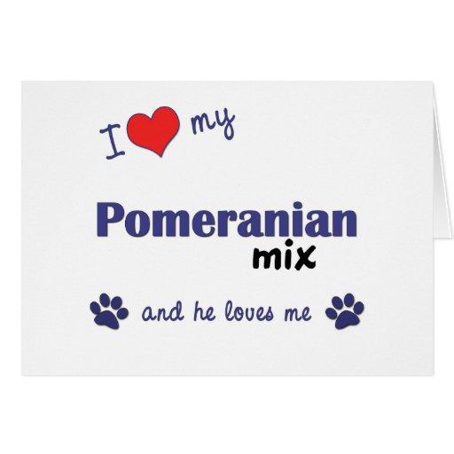 I Love My Pomeranian Mix (Male Dog) Card