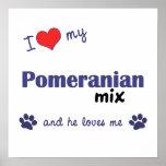 I Love My Pomeranian Mix (Male Dog) Poster Print