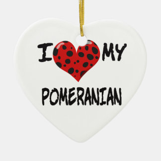 I Love My Pomeranian Double-Sided Heart Ceramic Christmas Ornament