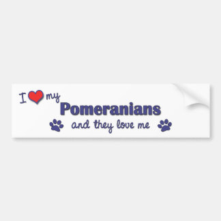 I Love My Pomeranians (Multiple Dogs) Car Bumper Sticker