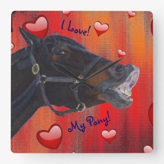I Love My Pony! Cute Equestrian Square Wall Clock