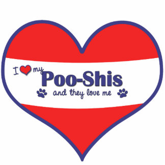 I Love My Poo-Shis (Multiple Dogs) Photo Sculpture Ornament