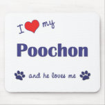I Love My Poochon (Male Dog) Mouse Pads