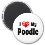 I Love My Poodle 2 Inch Round Magnet