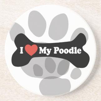 I Love My Poodle - Dog Bone Drink Coaster