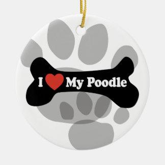 I Love My Poodle - Dog Bone Christmas Tree Ornaments