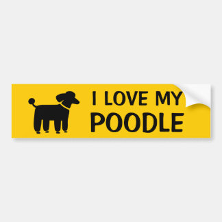 I LOVE MY POODLE - Dog Graphic with Custom Text Bumper Sticker