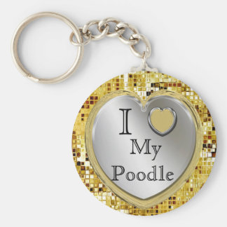 I Love My Poodle Heart Keychain