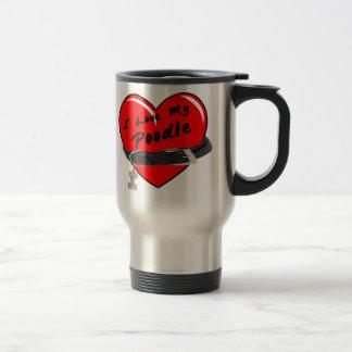 I Love My Poodle Heart with Dog Collar Coffee Mugs
