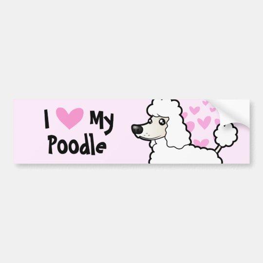 I Love My Poodle (puppy cut) Bumper Sticker
