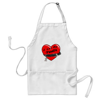 I Love My Poodle Red Heart with Dog Collar Adult Apron