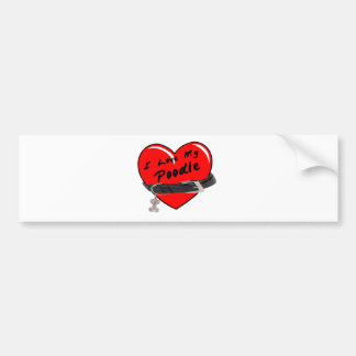 I Love My Poodle Red Heart with Dog Collar Car Bumper Sticker