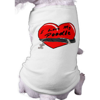 I Love My Poodle Red Heart with Dog Collar Dog Tee