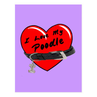 I Love My Poodle Red Heart with Dog Collar Postcard