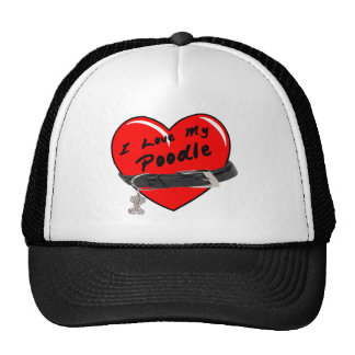 I Love My Poodle Red Heart with Dog Collar Trucker Hat
