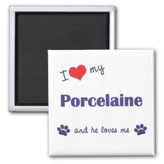 I Love My Porcelaine (Male Dog) 2 Inch Square Magnet