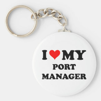 I Love My Port Manager Keychains