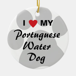 I Love My Portuguese Water Dog Double-Sided Ceramic Round Christmas Ornament