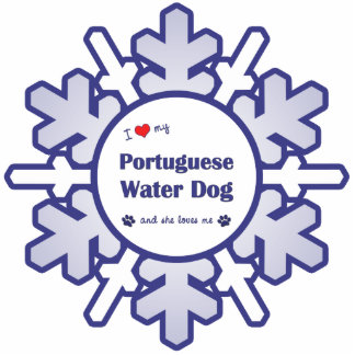 I Love My Portuguese Water Dog (Female Dog) Photo Sculpture Ornament
