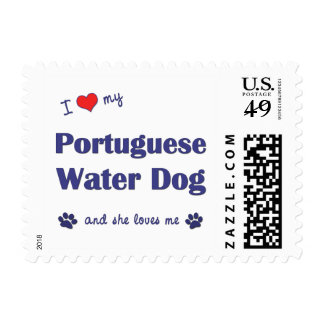 I Love My Portuguese Water Dog (Female Dog) Postage Stamp